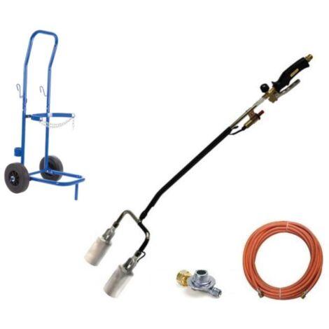Brûleur de mauvaises herbes à gaz avec double tête et allumage Piezo, tuyau de gaz de 5 mètres, régulateur de pression et chariot pour bouteilles de gaz - QT118