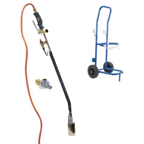 Brûleur de mauvaises herbes à gaz avec Piezo - tuyau de gaz de 5m, régulateur de pression et chariot pour bouteilles de gaz - QT118