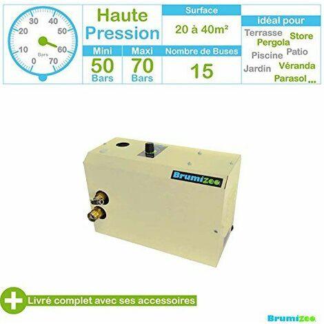 BRUMIZEO BZKN15N-HA BRUMISATEUR DE TERRASSE HAUTE PRESSION AVEC 15 BUSES MÉTAL BLANC 40 X 35 X 30 CM