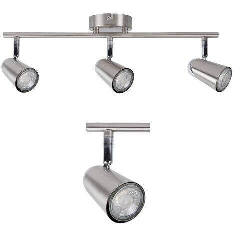Brushed Chrome 3 Bar or Round Adjustable Spotlight Ceiling Spot Light