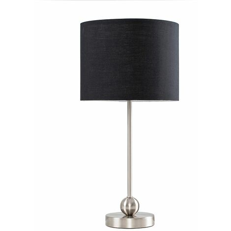 Brushed Chrome Ball Table Lamp + Black Shade + 4W LED Golfball Bulb Warm White