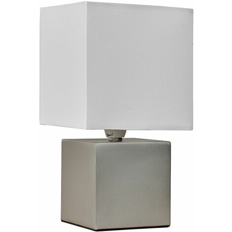 Brushed Chrome Cube Touch Dimmer Bedside Table Lamp + White Fabric Light Shade - Silver