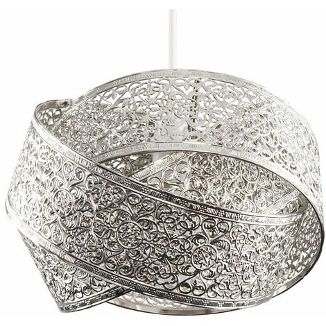 Brushed Chrome Intertwined Rings Ceiling Pendant Easy Fit Shade