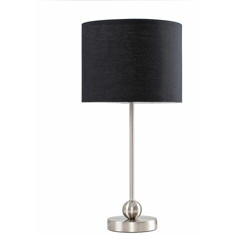 Brushed Chrome Metal Ball Table Lamp + Black Shade