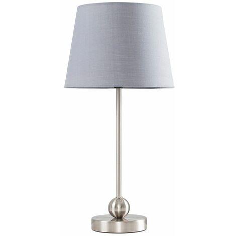 Brushed Chrome Metal Ball Table Lamp + Grey Shade + 4W LED Golfball Bulb Warm White