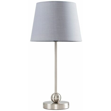Brushed Chrome Metal Ball Table Lamp + Grey Shade