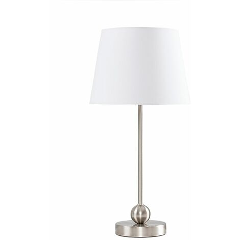 Brushed Chrome Metal Ball Table Lamp + White Shade + 4W LED Golfball Bulb Warm White