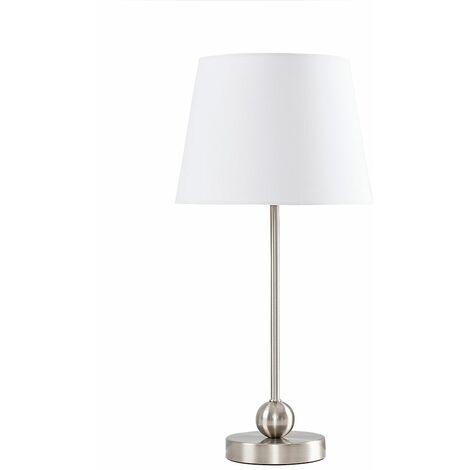 Brushed Chrome Metal Ball Table Lamp + White Shade