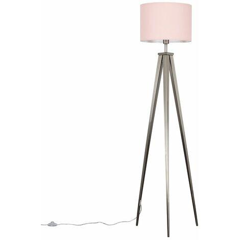 Brushed Chrome Metal Tripod Floor Lamp + Pink Shade - 10W LED Gls Bulb Warm White - Silver