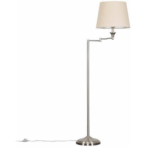Brushed Chrome Swing Arm Floor Lamp With Large Tapered Shade - Yes - Silver