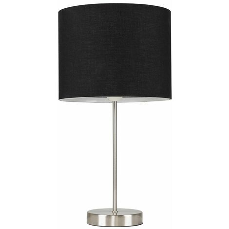 Brushed Chrome Table Lamp Metal Lampshades - Black - Silver