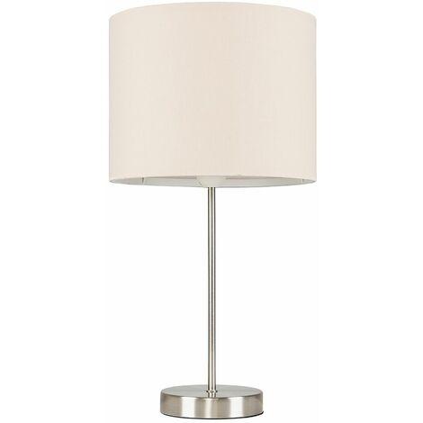 Brushed Chrome Table Lamp Metal Lighting Lampshades LED Bulb - Beige LED
