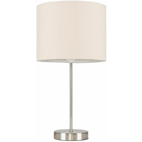 Brushed Chrome Table Lamp Metal Lighting Lampshades LED Bulb - Beige LED - Silver