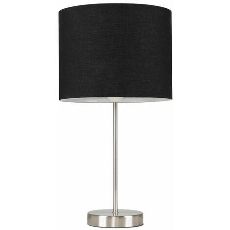 Brushed Chrome Table Lamp Metal Lighting Lampshades LED Bulb - Black LED - Silver
