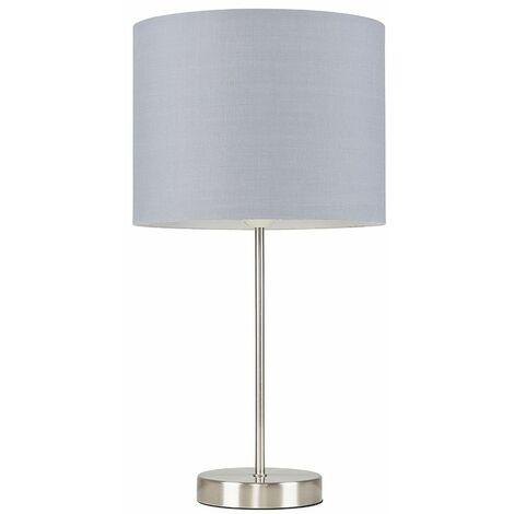 Brushed Chrome Table Lamp Metal Lighting Lampshades LED Bulb - Grey LED - Silver