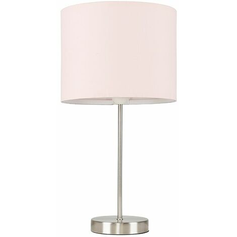 Brushed Chrome Table Lamp Metal Lighting Lampshades LED Bulb - Pink LED - Silver