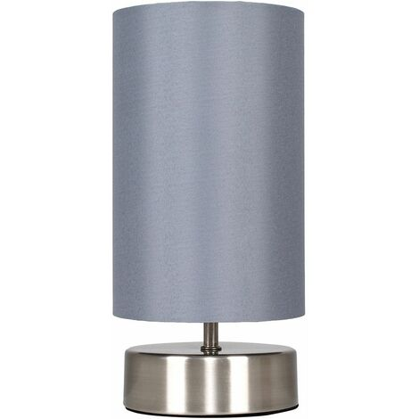 Brushed Chrome Touch Dimmer Bedside Table Lamp + Grey Light Shade + LED Candle Bulb - Warm White