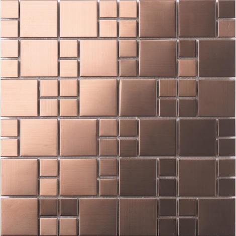 Brushed Copper Effect Stainless Steel Mosaic Tiles MT0174
