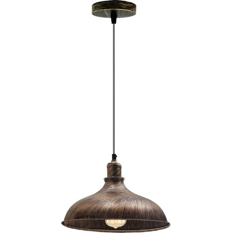 Brushed Copper Industrial Retro Ceiling Pendant Light Loft Style Suspended