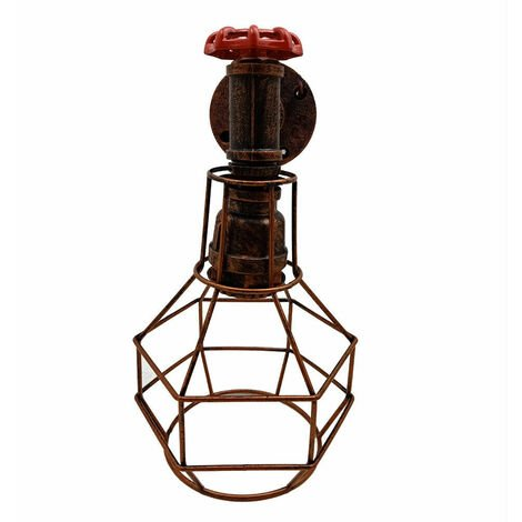 Brushed Copper Rustic Water Pipe Wall Light Porch Lamp Steampunk With Cage