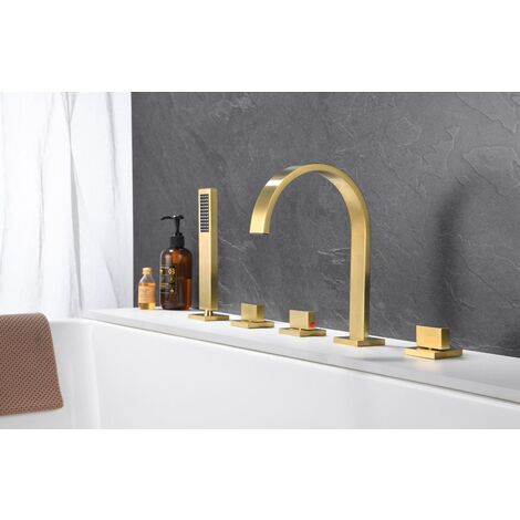 Brushed gold deck-mounted bath-shower mixer tap - C�falu