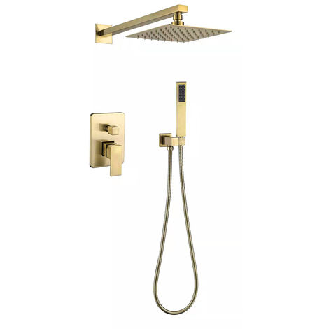 Brushed gold recessed shower mixer composition - Sirius
