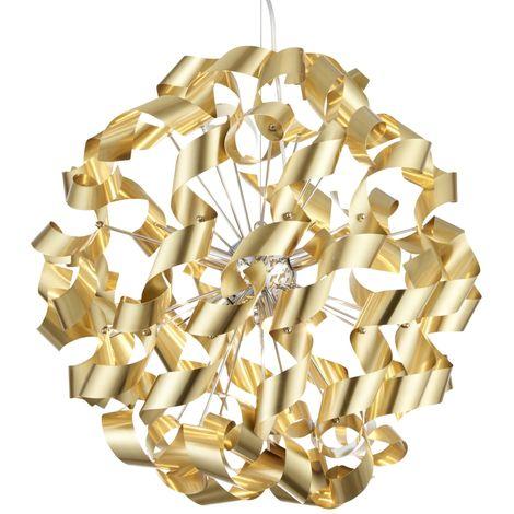 Brushed Gold Ribbon 6 Light Pendant