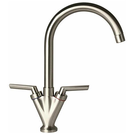 Brushed Nickel 360 Swivel Spout Faucet Kitchen Sink Basin Mono Mixer Tap