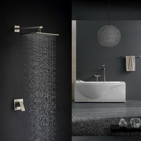 Brushed Nickel Single Handle Concealed Shower System with 200mm Wall Mounted Shower Head