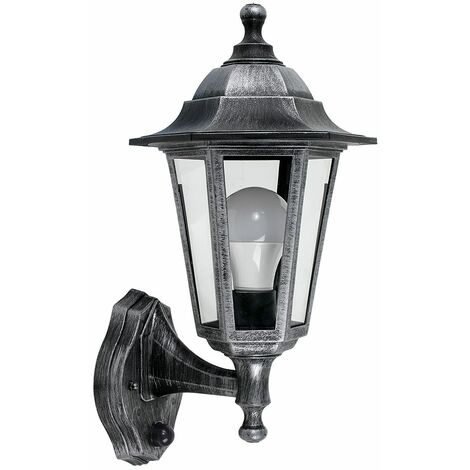 Brushed Silver & Black Outdoor Ip44 Rated Wall Light Dusk To Dawn Sensor 15W LED Gls Bulb - Cool White