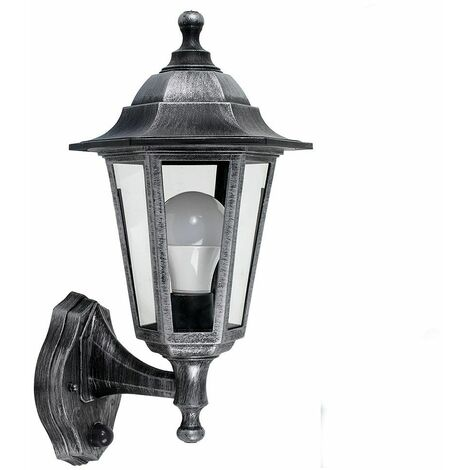 Brushed Silver & Black Outdoor Ip44 Wall Light + Dusk To Dawn Sensor + 4W LED Es E27 Candle Bulb