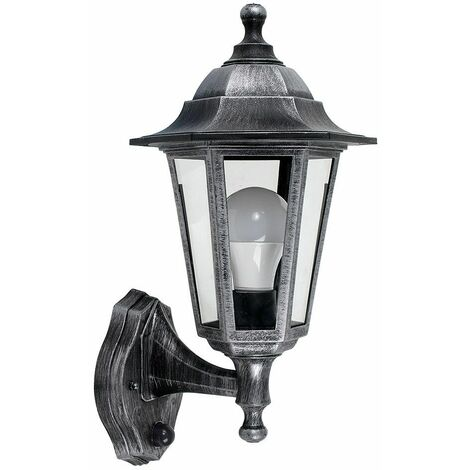 Brushed Silver & Black Outdoor Ip44 Wall Light + Dusk To Dawn Sensor + 6W LED Es E27 Bulb - Silver