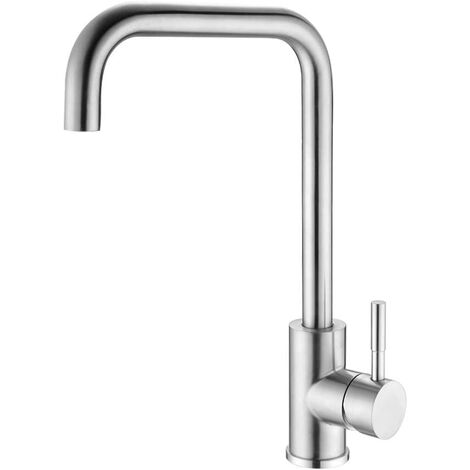 Brushed Stainless Steel 360 ° Swivel Kitchen Faucet High Kitchen Mixer High Spout Single Handle Kitchen Mixer Tap