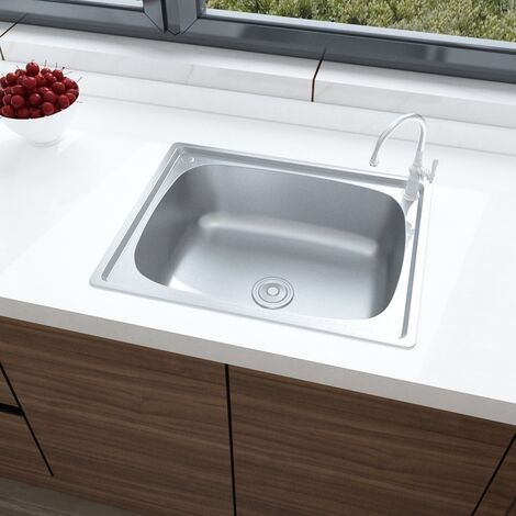 Brushed Stainless Steel Sink Kitchen Inset Single Bowl with Drainer 495mmx395mm