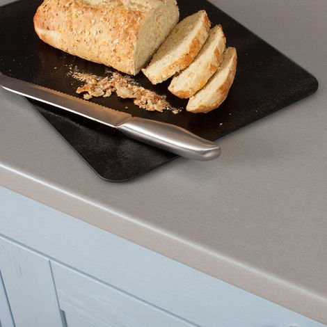 Brushed Steel Laminate Worktop - Counter Tops and Breakfast Bars, Kitchen Surfaces in a Variety of sizes