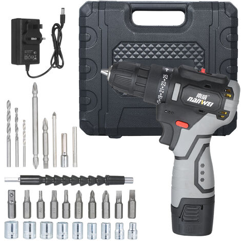 """main image of """"Brushless Lithium Electric Drill Set Two-speed Rechargeable Drill Household Electric Hand Drill Portable Drill with Socket Screw Bits Twist Drills Flexible Shaft"""""""