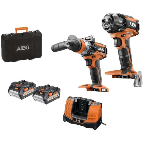 Brushless Pack AEG 18V Oleopneumatic Impact Driver without Battery or Charger BSS 18OP-0 - 18V Impact Drill - 2 x 5.0Ah