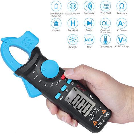 Bside Digital Ac Clamp 2000 Metres Comtes Gamme Auto Multimetre Trms Mesure Ac / Dc Tension Ac Courant Resistance De Continuite Diode Testeur De Temperature