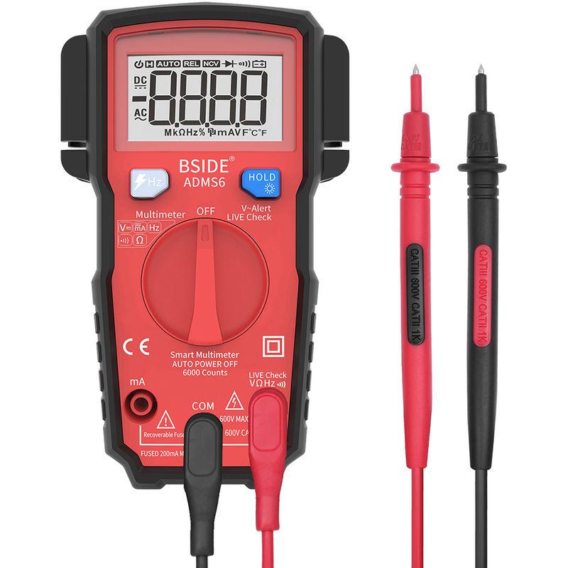 Image of Digital Multimeter 6000 Counts LCD Display True RMS, Red - Bside