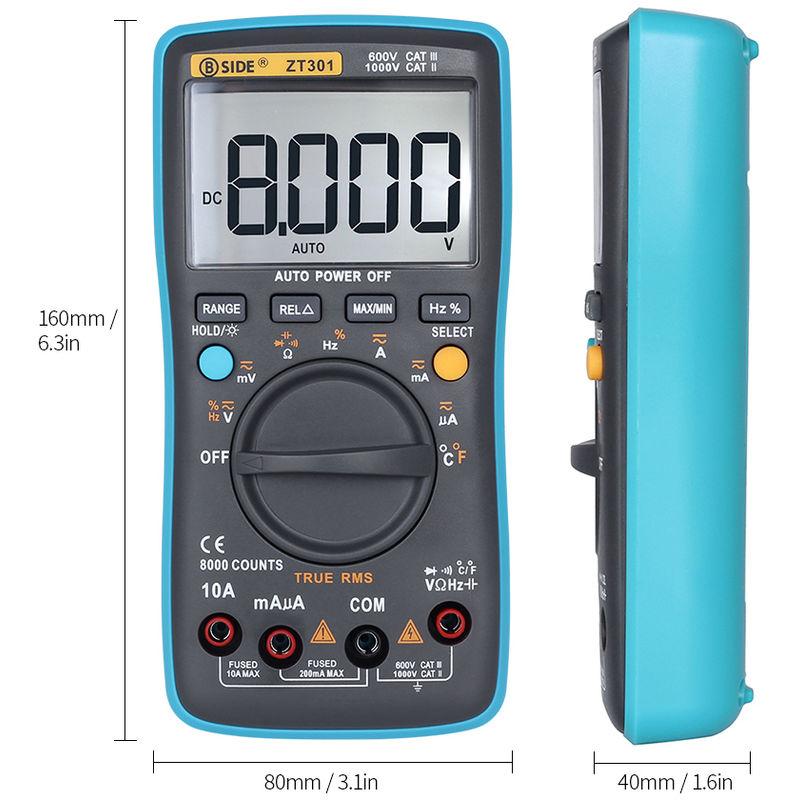 Image of Digital Multimeter AC DC Voltage Current 8000 Counts ZT301 - Bside