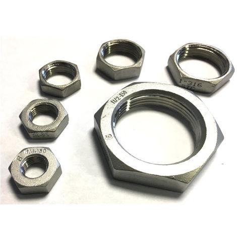 BSP 1-1/4 Inch Hexagon Lock Nut / Back Nut T316 (A4) Marine Grade Stainless Steel - Taper Thread