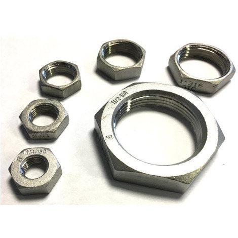 BSP 1 Inch Hexagon Lock Nut / Back Nut T316 (A4) Marine Grade Stainless Steel - taper Thread