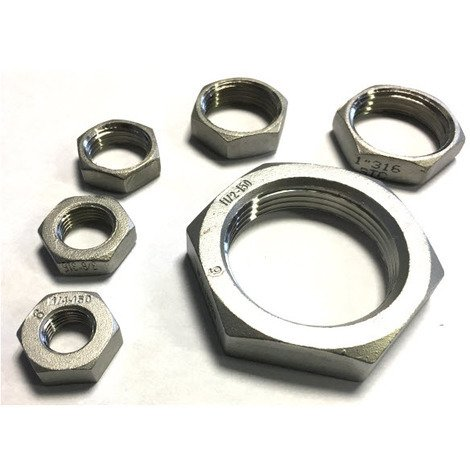 BSP 3/8 Inch Hexagon Lock Nut / Back Nut T316 (A4) Marine Grade Stainless Steel - Taper Thread