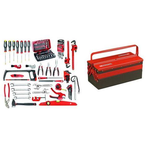 BT11A.M210A Sélection plombier 94 outils plus boîte à outils métal 1821.41