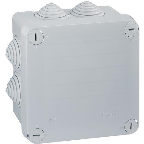 Bte carrée 105x105x55 étanche Plexo gris - embout gradins (7) -IP55/IK07- 650°C