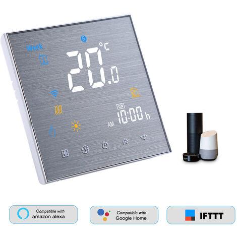 BTH-3000L-GALW Smart WiFi Thermostat pour chauffage de l\'eau Regulateur de temperature numerique Grand ecran LCD, blanc