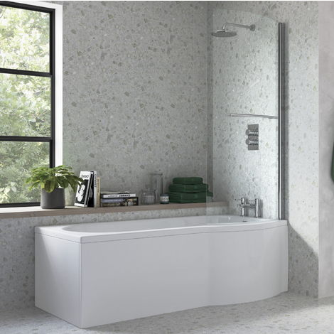 BTL 1675 x 800 Acrylic Right Hand P Shaped Shower Bath Pack