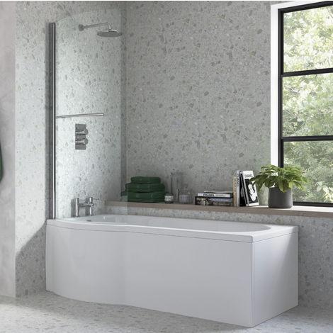 BTL 1675 x 800 Supercast Acrylic Left Hand P Shaped Shower Bath Pack