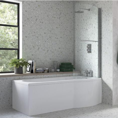 BTL 1675 x 850 Acrylic Right Hand P Shape Shower Bath Pack
