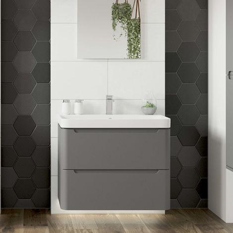BTL 500mm 2 Drawer Wall Hung Cloakroom Vanity Unit and Basin Matt Grey